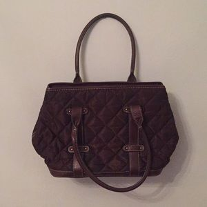 JCREW brown quilted tote bag